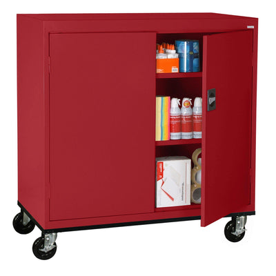 Transport Series Double Door Work Height Storage Cabinet, 46 x 24 x 42, Red