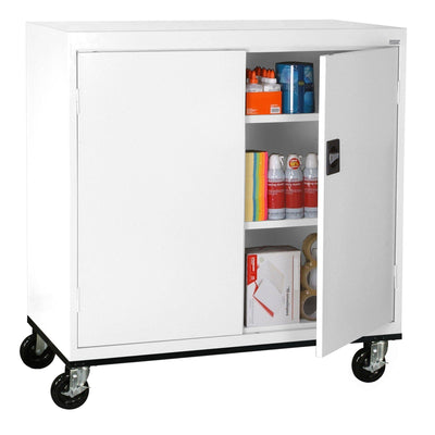 Transport Series Double Door Work Height Storage Cabinet, 46 x 24 x 42, White
