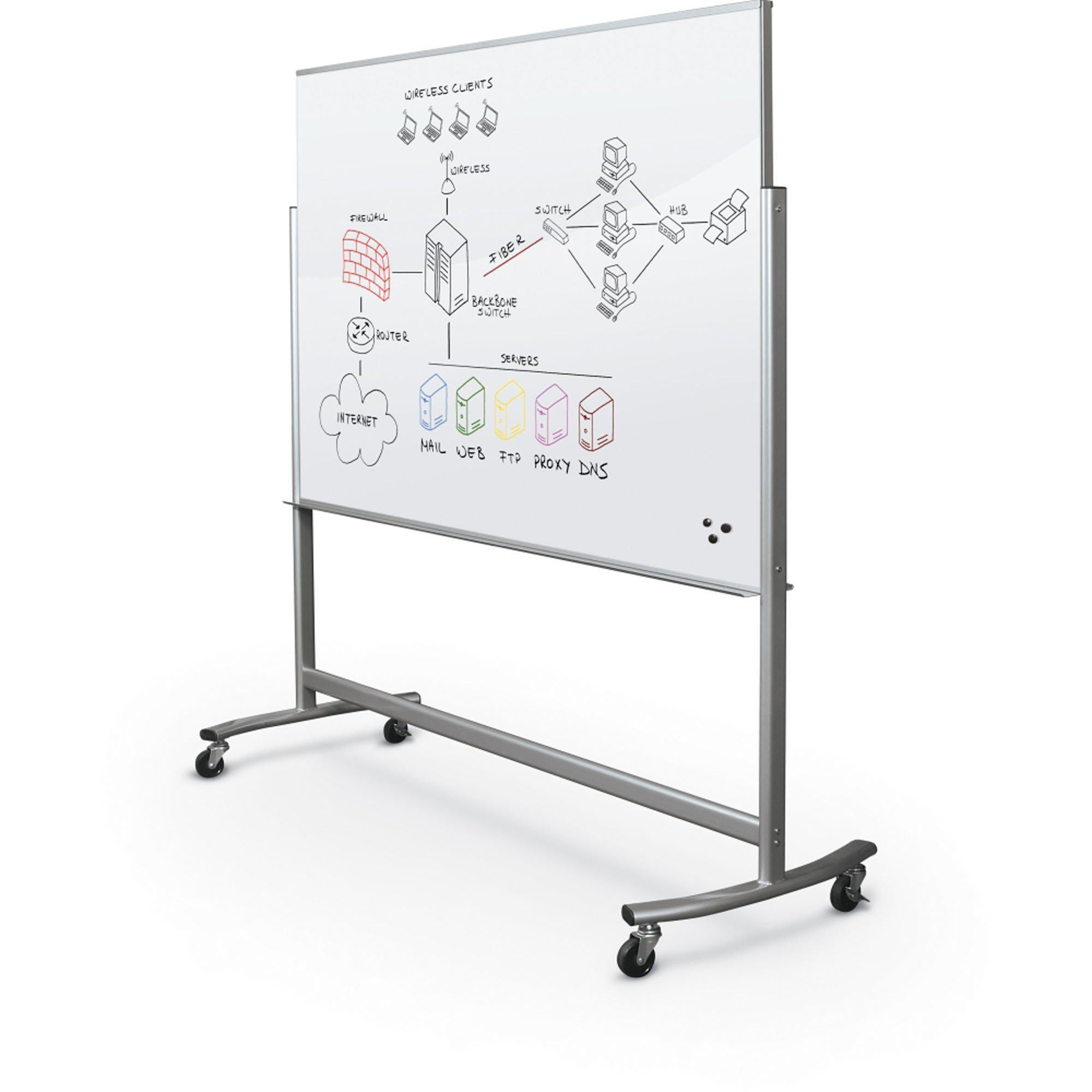 Visionary Move Mobile Magnetic Glassboard, 4 x 6-Boards-