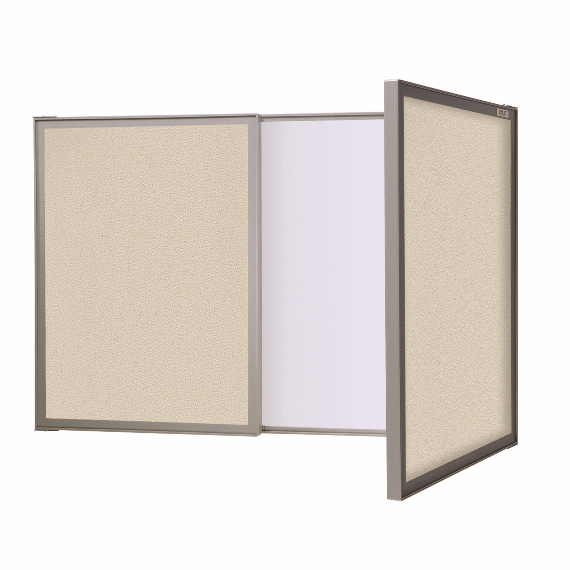 VisuALL PC Whiteboard Cabinet with Fabric Bulletin Board Exterior Doors-Boards-Beige-