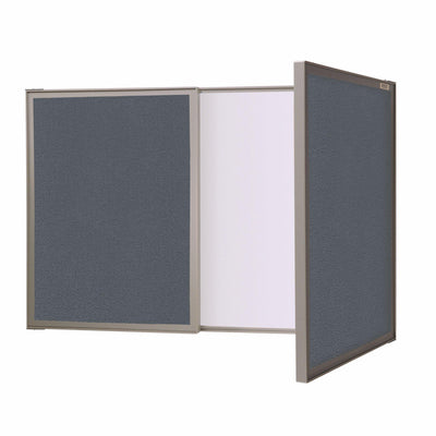 VisuALL PC Whiteboard Cabinet with Fabric Bulletin Board Exterior Doors-Boards-Gray-