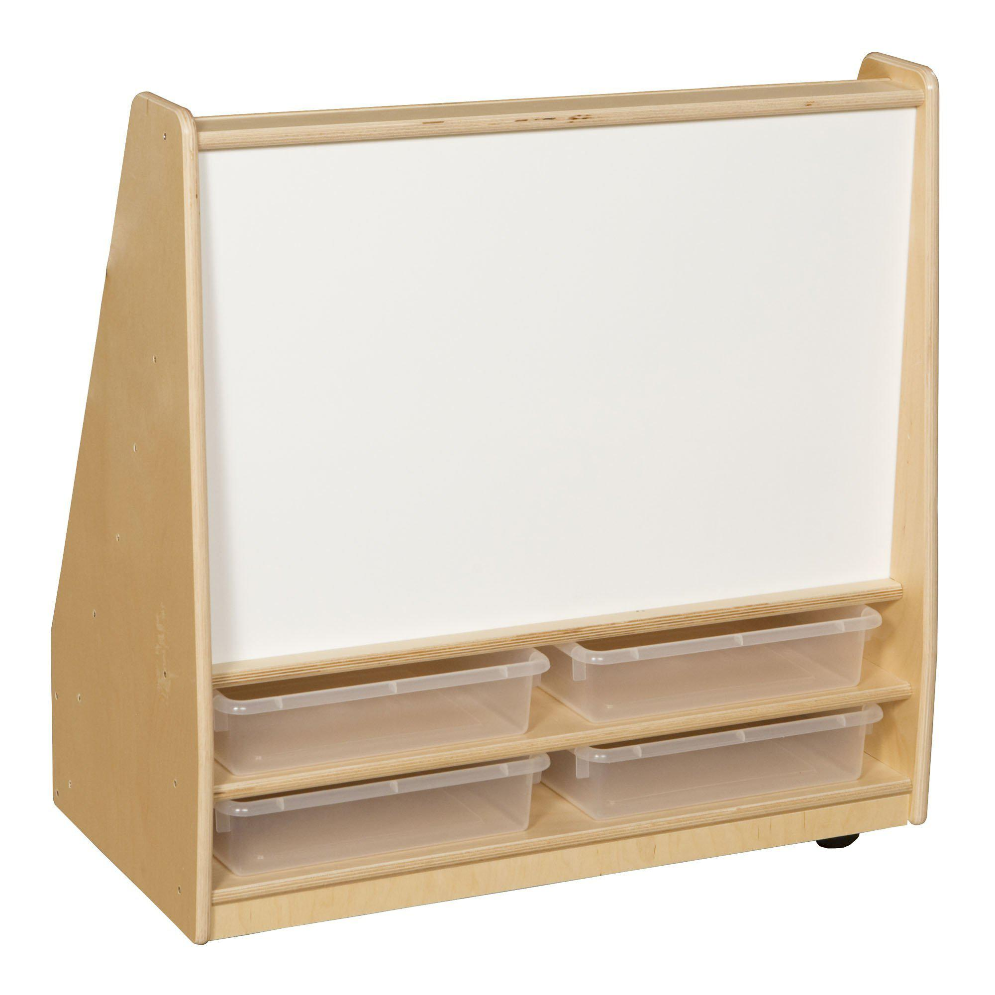 "Book Storage & Display with Markerboard, (4) 3"" Translucent Letter Trays"