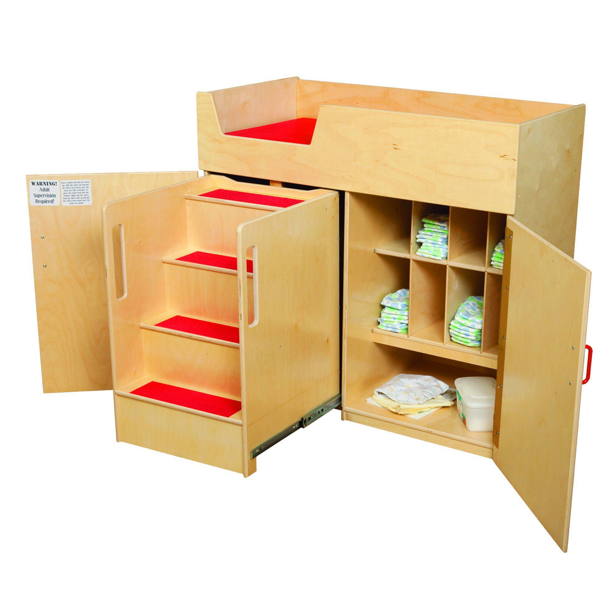 Deluxe Infant Care Center with Stairs with Red Treads and Cushion