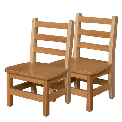 "Wood Designs Hardwood Ladderback Chairs, Carton of 2-Chairs-10""-"