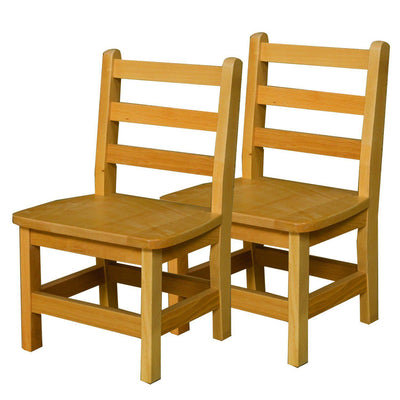 "Wood Designs Hardwood Ladderback Chairs, Carton of 2-Chairs-11""-"