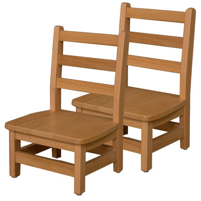 "Wood Designs Hardwood Ladderback Chairs, Carton of 2-Chairs-8""-"