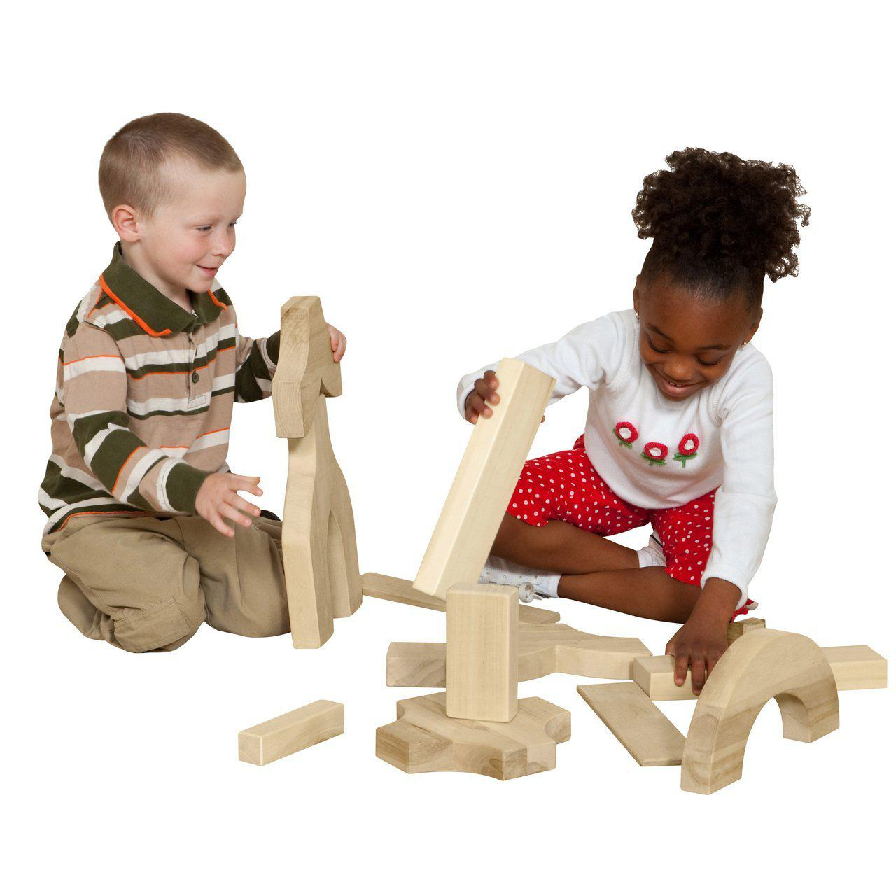Wood Designs Kindergarten Blocks - 24 Shapes, 183 Pieces-Pre-School Furniture-