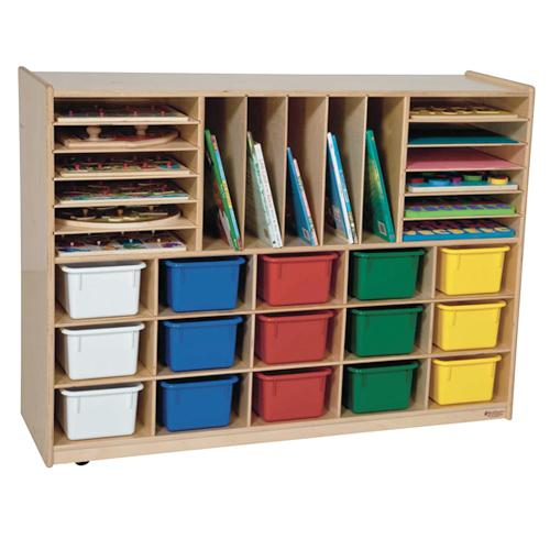 Wood Designs Mobile Multi-Storage with 15 Trays-Pre-School Furniture-