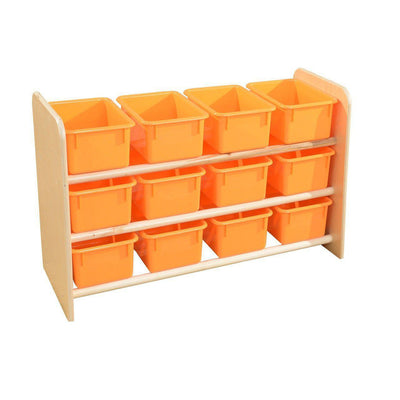 Wood Designs See-All Storage with 12 Trays-Pre-School Furniture-Orange Pastel-
