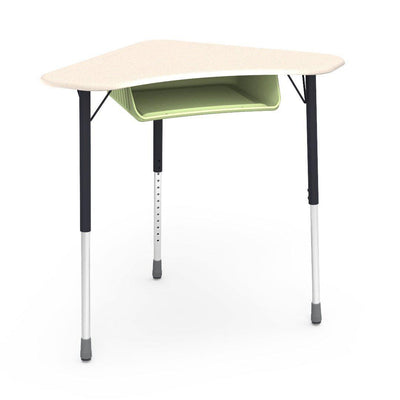 Zuma Series Adjustable-Height Desk with Hard Plastic Boomerang-Shape Top and Plastic Book Box-Desks-Fusion Maple-Char Black-Green Apple