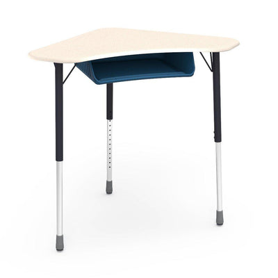 Zuma Series Adjustable-Height Desk with Hard Plastic Boomerang-Shape Top and Plastic Book Box-Desks-Fusion Maple-Char Black-Navy