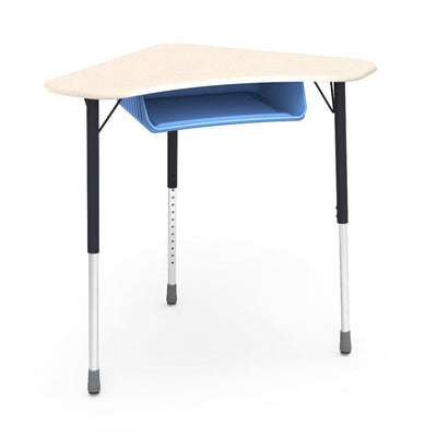 Zuma Series Adjustable-Height Desk with Hard Plastic Boomerang-Shape Top and Plastic Book Box-Desks-Fusion Maple-Char Black-Sky Blue