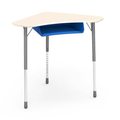 Zuma Series Adjustable-Height Desk with Hard Plastic Boomerang-Shape Top and Plastic Book Box-Desks-Fusion Maple-Silver Mist-Cobalt Blue