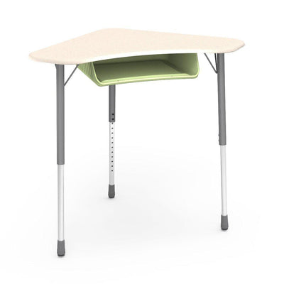 Zuma Series Adjustable-Height Desk with Hard Plastic Boomerang-Shape Top and Plastic Book Box-Desks-Fusion Maple-Silver Mist-Green Apple
