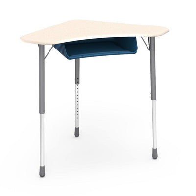 Zuma Series Adjustable-Height Desk with Hard Plastic Boomerang-Shape Top and Plastic Book Box-Desks-Fusion Maple-Silver Mist-Navy