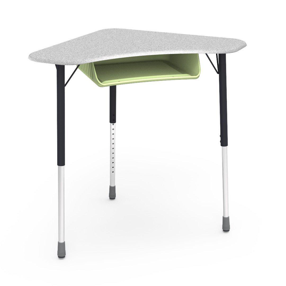 Zuma Series Adjustable-Height Desk with Hard Plastic Boomerang-Shape Top and Plastic Book Box-Desks-Grey Nebula-Char Black-Green Apple