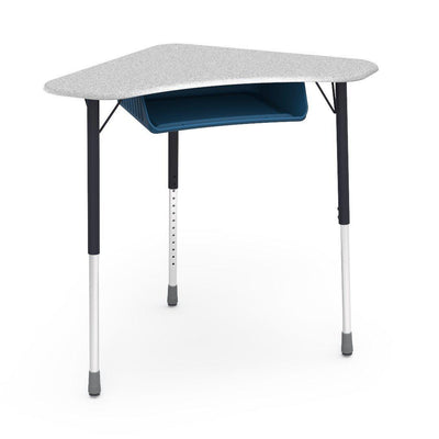Zuma Series Adjustable-Height Desk with Hard Plastic Boomerang-Shape Top and Plastic Book Box-Desks-Grey Nebula-Char Black-Navy