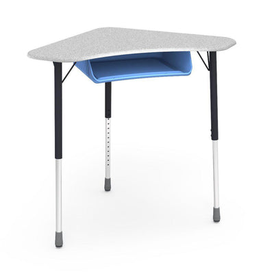 Zuma Series Adjustable-Height Desk with Hard Plastic Boomerang-Shape Top and Plastic Book Box-Desks-Grey Nebula-Char Black-Sky Blue