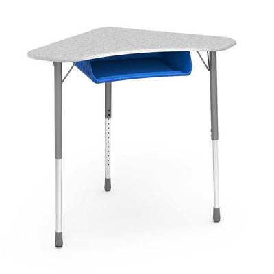 Zuma Series Adjustable-Height Desk with Hard Plastic Boomerang-Shape Top and Plastic Book Box-Desks-Grey Nebula-Silver Mist-Cobalt Blue