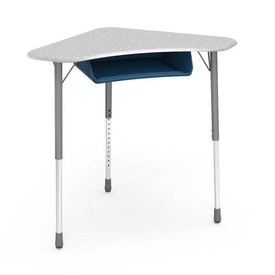 Zuma Series Adjustable-Height Desk with Hard Plastic Boomerang-Shape Top and Plastic Book Box-Desks-Grey Nebula-Silver Mist-Navy
