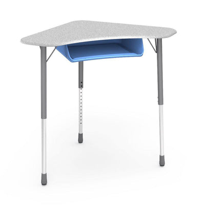 Zuma Series Adjustable-Height Desk with Hard Plastic Boomerang-Shape Top and Plastic Book Box-Desks-Grey Nebula-Silver Mist-Sky Blue