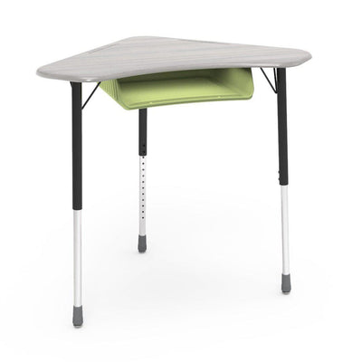Zuma Series Adjustable-Height Desk with Hard Plastic Boomerang-Shape Top and Plastic Book Box-Desks-Looks Likatre-Char Black-Green Apple