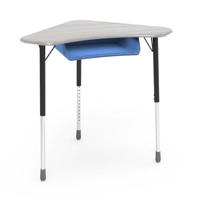 Zuma Series Adjustable-Height Desk with Hard Plastic Boomerang-Shape Top and Plastic Book Box-Desks-Looks Likatre-Char Black-Sky Blue