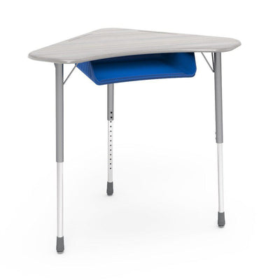 Zuma Series Adjustable-Height Desk with Hard Plastic Boomerang-Shape Top and Plastic Book Box-Desks-Looks Likatre-Silver Mist-Cobalt Blue