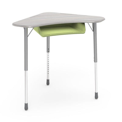 Zuma Series Adjustable-Height Desk with Hard Plastic Boomerang-Shape Top and Plastic Book Box-Desks-Looks Likatre-Silver Mist-Green Apple