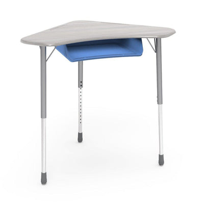 Zuma Series Adjustable-Height Desk with Hard Plastic Boomerang-Shape Top and Plastic Book Box-Desks-Looks Likatre-Silver Mist-Sky Blue