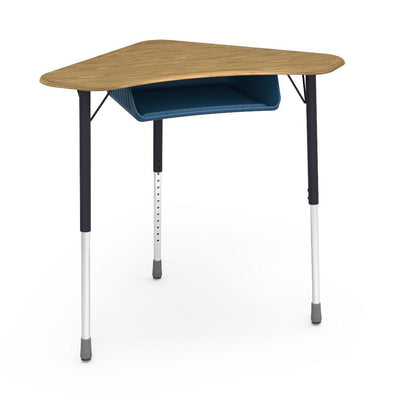 Zuma Series Adjustable-Height Desk with Hard Plastic Boomerang-Shape Top and Plastic Book Box-Desks-Medium Oak-Char Black-Navy