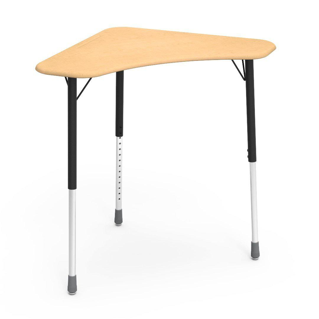 Zuma Series Adjustable-Height Desk with Hard Plastic Boomerang-Shape Top-Desks-Fusion Maple-Char Black-