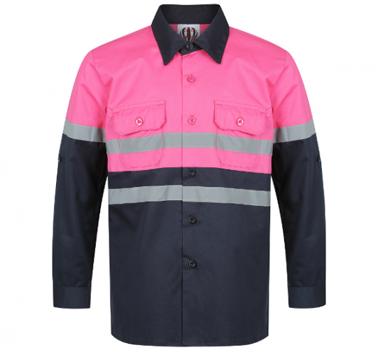 Hot Pink & Navy Hi Viz Work Shirt