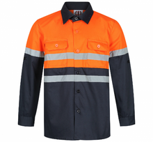 Load image into Gallery viewer, Orange & Navy Hi Viz Work Shirt