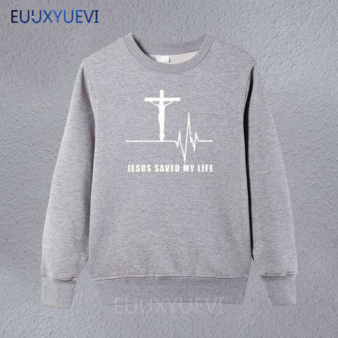Image of Jesus Saved My Life Christian Sweatshirts for Men
