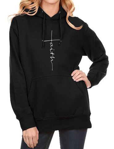 Image of FAITH Letter Kangaroo Pocket Pullover Hoodie