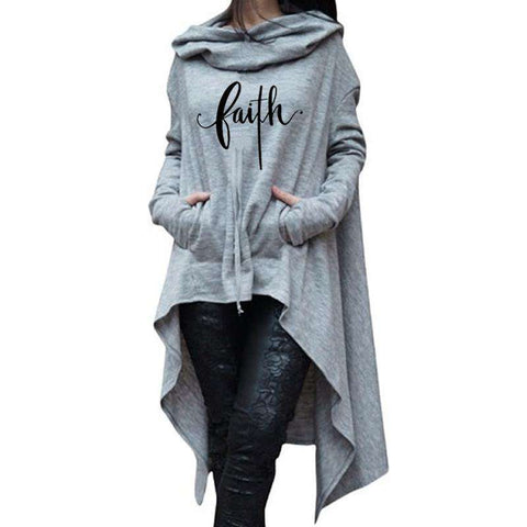2019 New Fashion Faith Print Tops Sweatshirt Hoodie