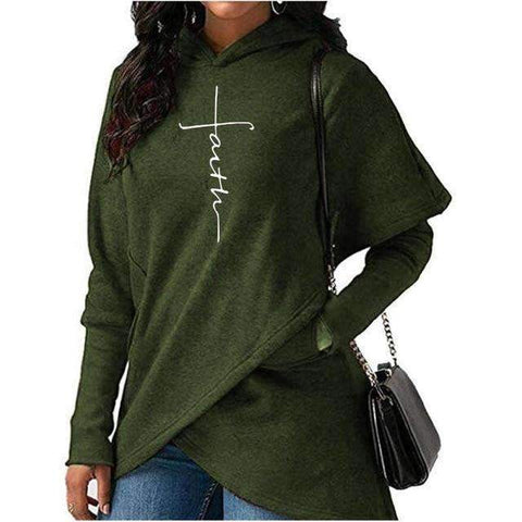 5XL Autumn Hoodies Sweatshirts Women Long Sleeve Faith Embroidery Warm Hooded Pullover Tops Plus Size Casual Female Sweatshirt