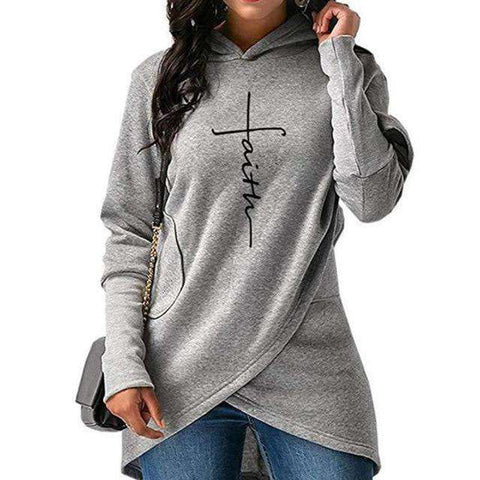 Faith Embroidery Hooded Pullover
