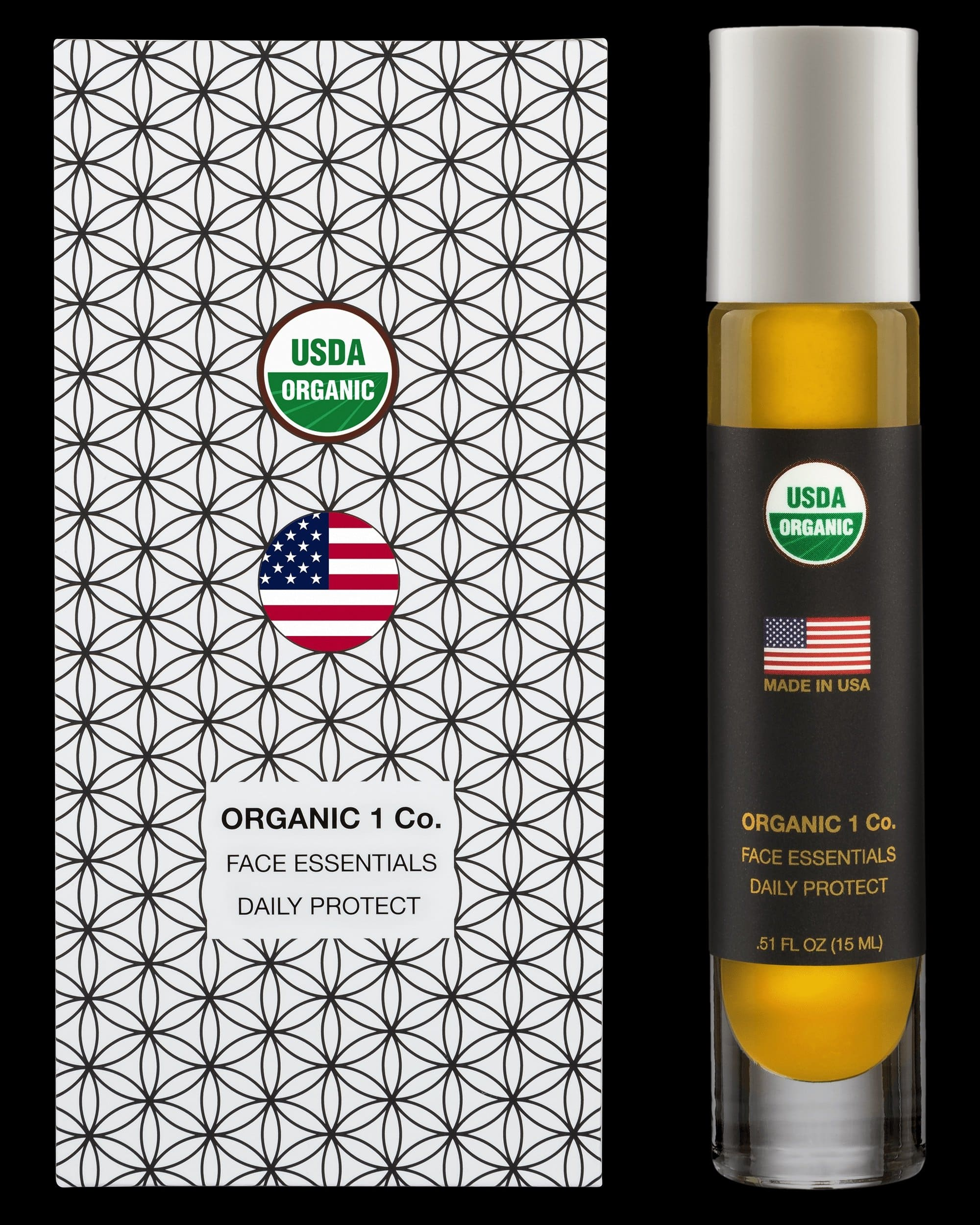 Face Essentials Daily Protect moisturizer front of box and bottle. USDA Organic anti aging Face Oil