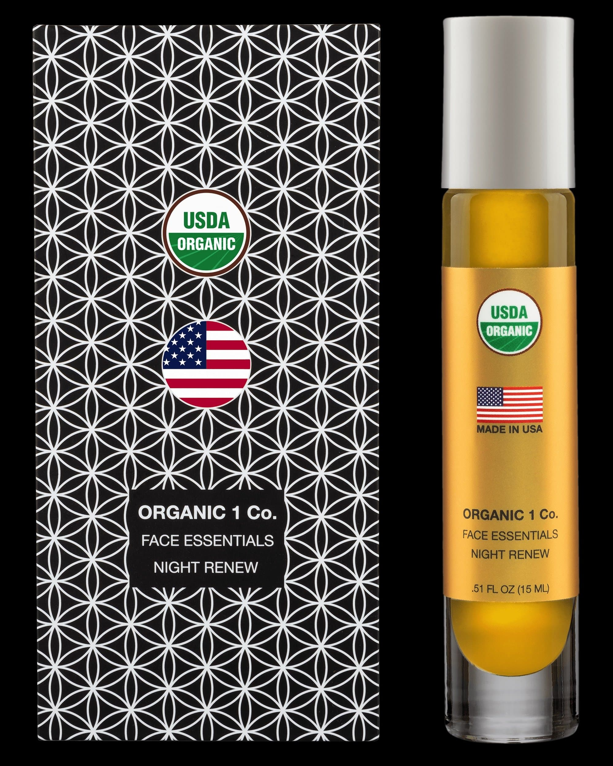 Face Essentials Night Renew moisturizer front of box and bottle. USDA Organic anti aging Face Oil