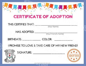 Puppy Dog Kawaii Cuddler® Adoption Certificate