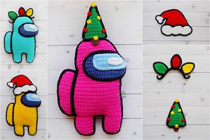 Among Us Crewmate Christmas Lights, Tree, Santa Hat Kawaii Cuddler® Crochet Pattern Bundle