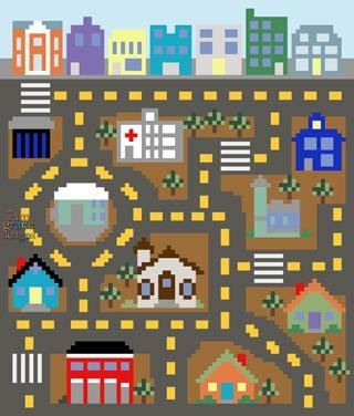 City Playmat C2C Crochet Graphgan Blanket