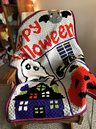 Halloween C2C Crochet Graphgan Blanket