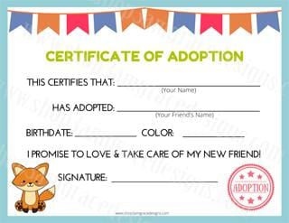 Fox Kawaii Cuddler® Adoption Certificate