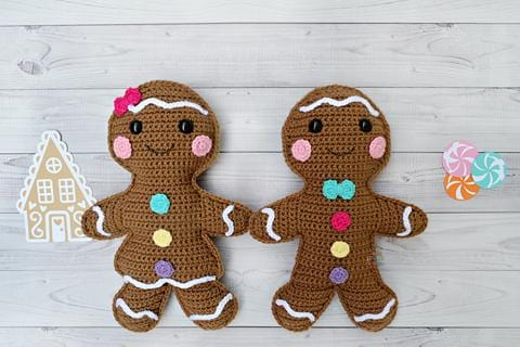 Gingerbread Couple Kawaii Cuddler® Crochet Pattern