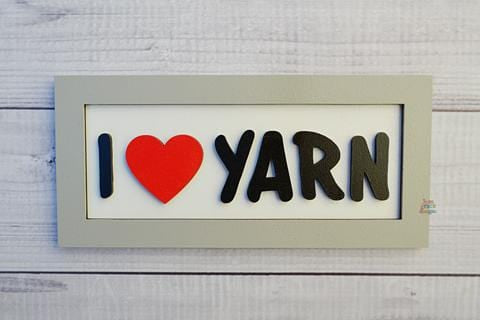 "I Love Yarn 3D Sign - 3.5"" x 7.5"""