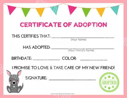 Kangaroo Kawaii Cuddler® Adoption Certificate