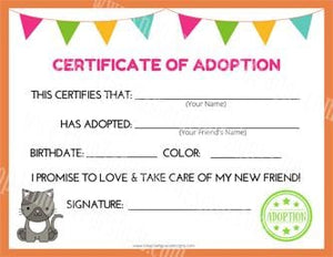 Kitty Cat Kawaii Cuddler® Adoption Certificate